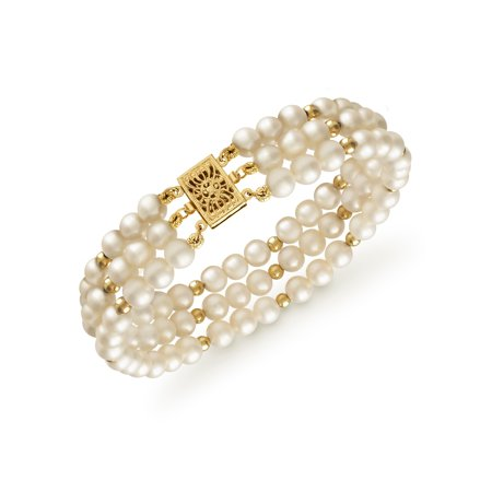 Cultured Freshwater Pearl 3-Row Bracelet in 14k Yellow Gold](Fake Pearl Bracelets In Bulk)
