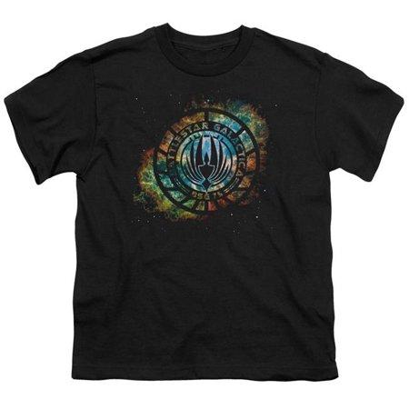 Girl Emblem (Trevco BSG251-YT-1 Battlestar Galactica New & Emblem Knock-Out-S by S Youth Short Sleeve Shirt, Black - Small )