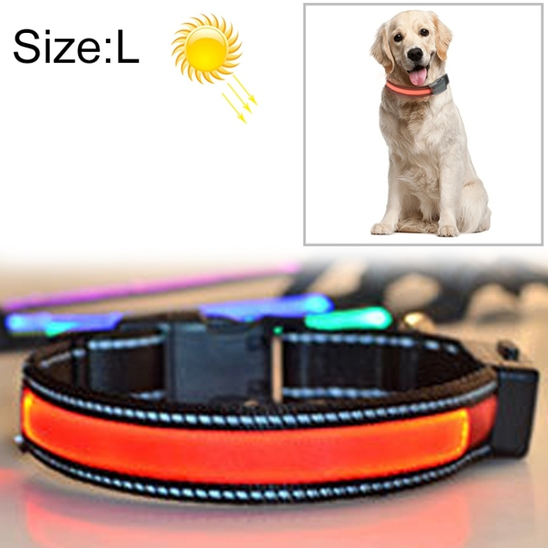 LED Dog Collar - Solar + USB Charging Glowing PET Collar for Night Safety Light Up Caller, Neck Circumference Size: L, 50-60cm(Red)