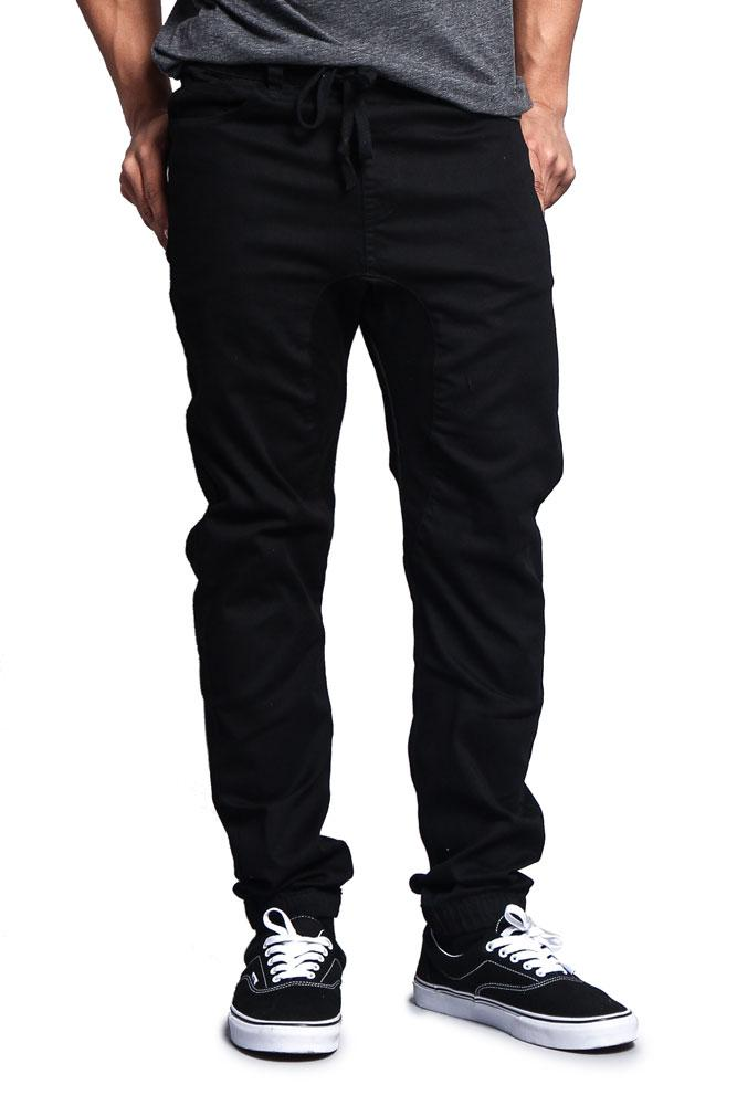 G-Style USA Mens Drop Crotch Jogger Twill Pants JG804 - BLACK - 5X-Large