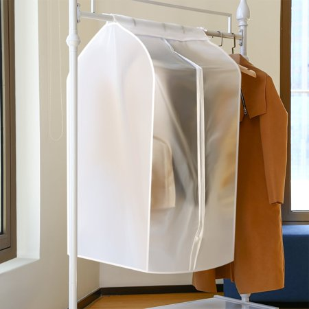 Jorlo Garment Clothes Cover Protector, Closet Storage Bags Translucent Dustproof Waterproof Hanging Clothing Storage Bag with Full Zipper & Magic Tape & Strap for Coat Dress Windcoat-Large