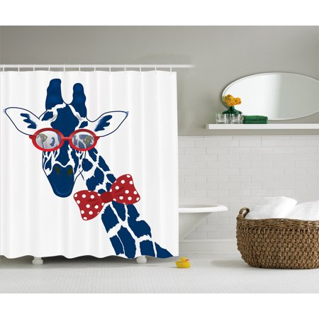 World Animal Decor Whimsical Fun Giraffe Hipster Sunglass Bowtie Shower Curtain ()