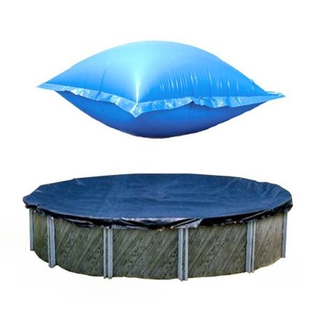 Swimline 24 Ft Round Above Ground Winter Pool Cover w/ 4'x8' Closing Air
