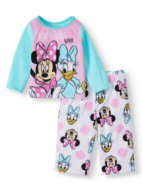 Minnie Mouse Baby Toddler Girl Long Sleeve Microfleece Pajamas, 2Pc Set