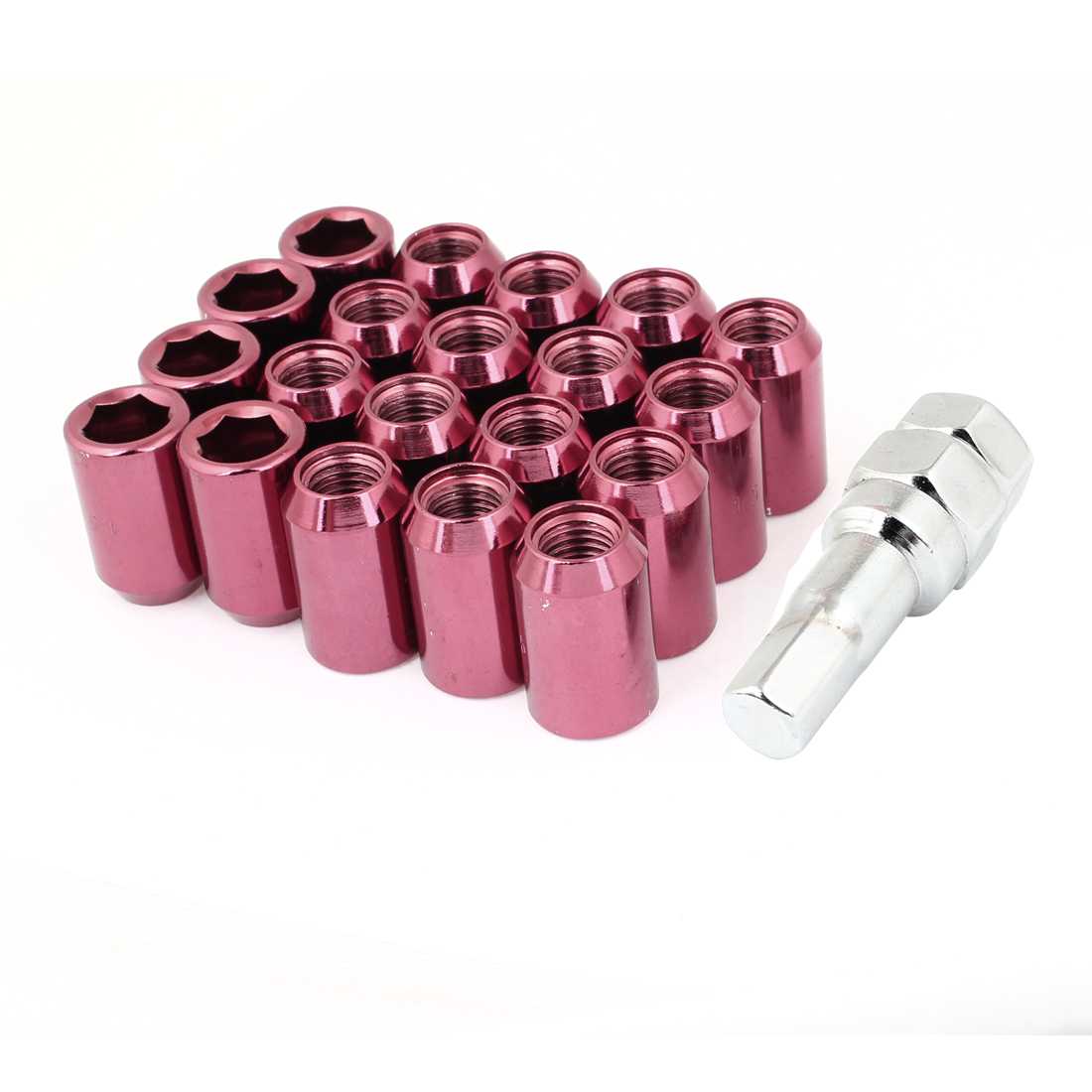 Unique Bargains 20 x Burgundy 1/4 PT Threaded Car Vehicle Tire Lug Wheel Nut w Hex Key