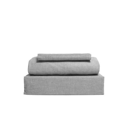 Chambray 3-Piece Gray Twin Sheet Set ()