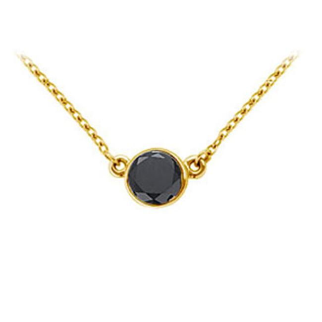 FineJewelryVault UBPD14YGBZ100BD-101 14K Yellow Gold : Bezel Set Round Black Diamond Solitaire Pendant - 1.00 CT. TW.