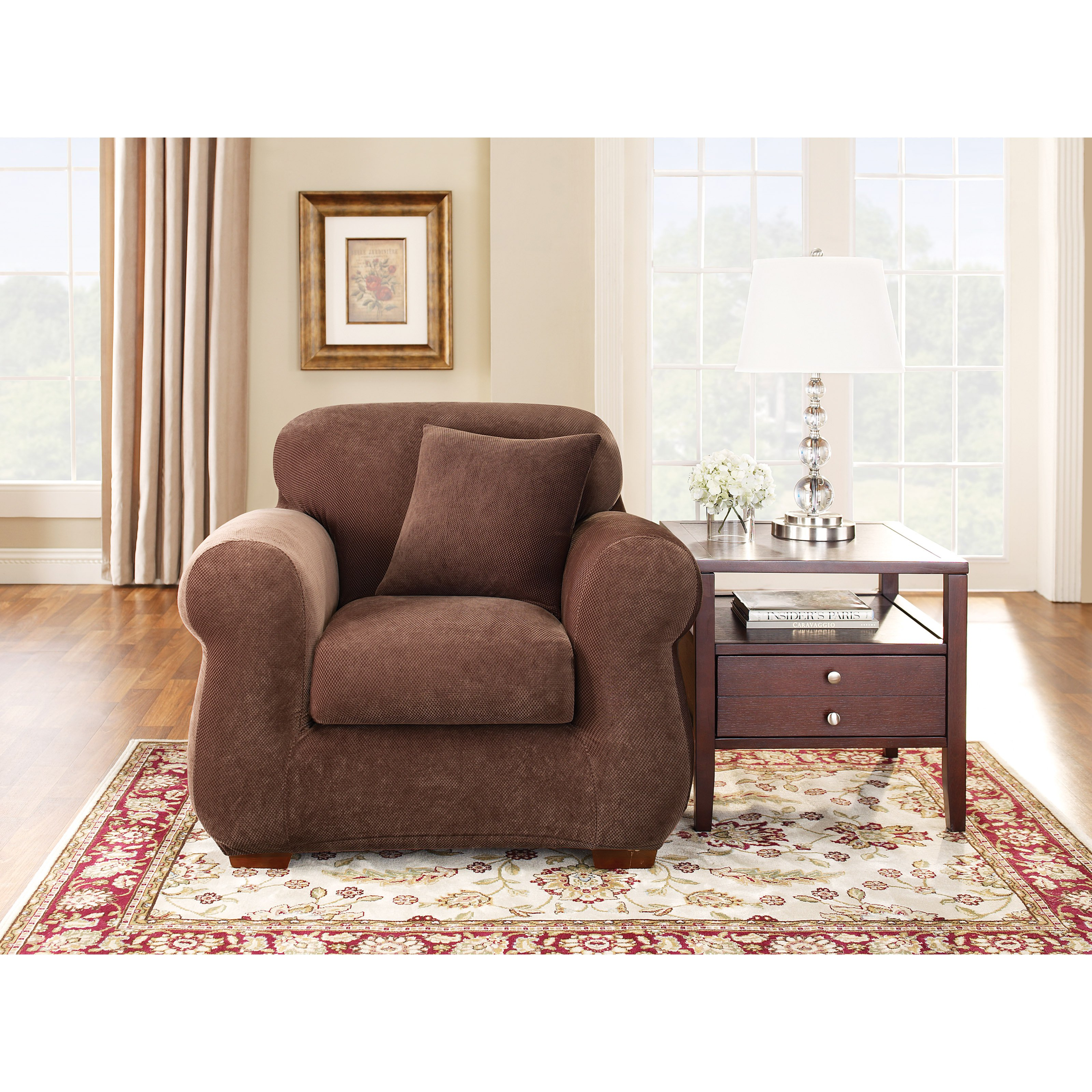 Sure Fit Stretch Pique Two Piece Chair Slipcover - Chocolate