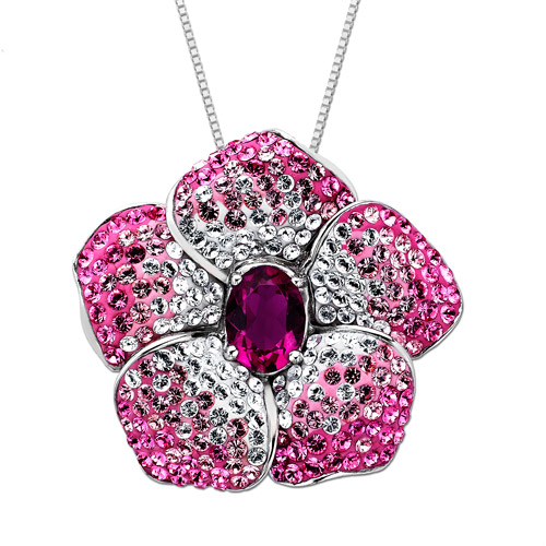"""Luminesse Sterling Silver Pink Flower Pendant made with Swarovski Elements, 18"""""""