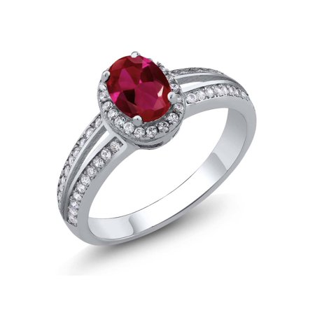 Holiday Gems Ruby (1.10 Ct Oval Red Created Ruby 925 Sterling Silver Ring )