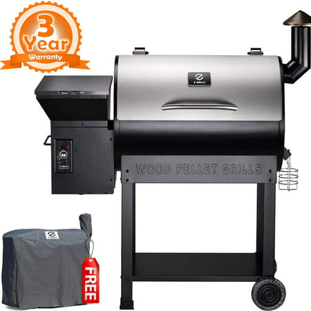 Z GRILLS ZPG-7002E 2019 New Model Wood Pellet Smoker, 8 in 1 BBQ Grill Auto Temperature Control, 700 sq inch Cooking Area, Silver Cover