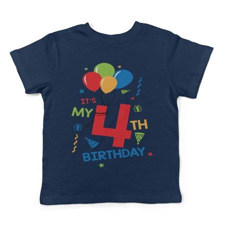 Lil Shirts It's My 4th Birthday Toddler T-Shirt - Boys
