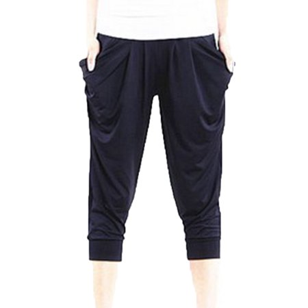 Women Summer Casual Cropped Trousers Pant Elastic Waist Ice Silk Harem Pants Large - Casual Cropped Pants