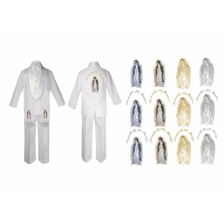 Baby Boy Christening Baptism White Suit Mary Maria Embroidery Stole & Back Sm-7
