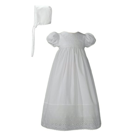 - White Cotton Christening Baptism Gown with Lace Border with Bonnet