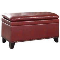 """17"""" Red Double Cushion Nail Head Storage Bench"""
