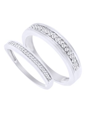 Product Image Round Cut White Natural Diamond His And Hers Wedding Band Ring Set In 14k Gold