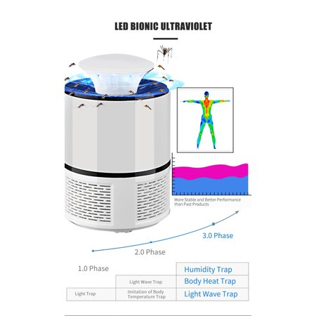 Electric Mosquito Killer USB UV Lamp Bug Zapper Flies Killer Repeller Eliminator Catcher Mosquito Trap with Tray Lamp -mosquito Tool No Noise for Home Living Room Bedroom Office Indoor - image 7 of 7