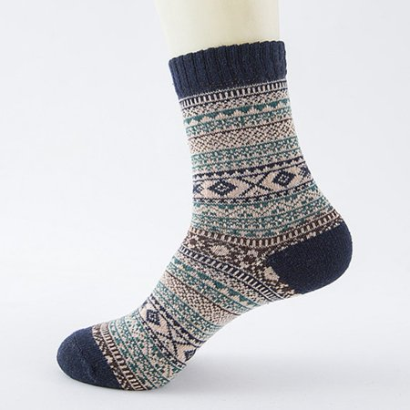 Fancyleo 2 Pairs Men Male Thicken Long Socks Striped Retro Geometric Knit Faux Rabbit Wool Lover Gift - Five Colors