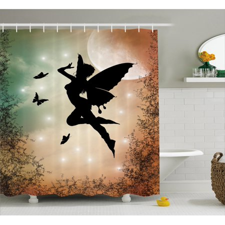 Apartment Decor Shower Curtain, Black Fairy with Angel Wings Butterflies and Sun like Alluring Round Light , Fabric Bathroom Set with Hooks, 69W X 70L Inches, Multicolor, by Ambesonne - Butterfly With Angel Wings
