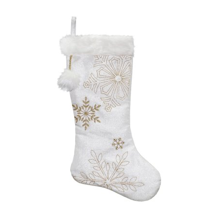 Dyno Metallic Embroidered Snowflakes Christmas Stocking (Embroidered Christmas Stockings)