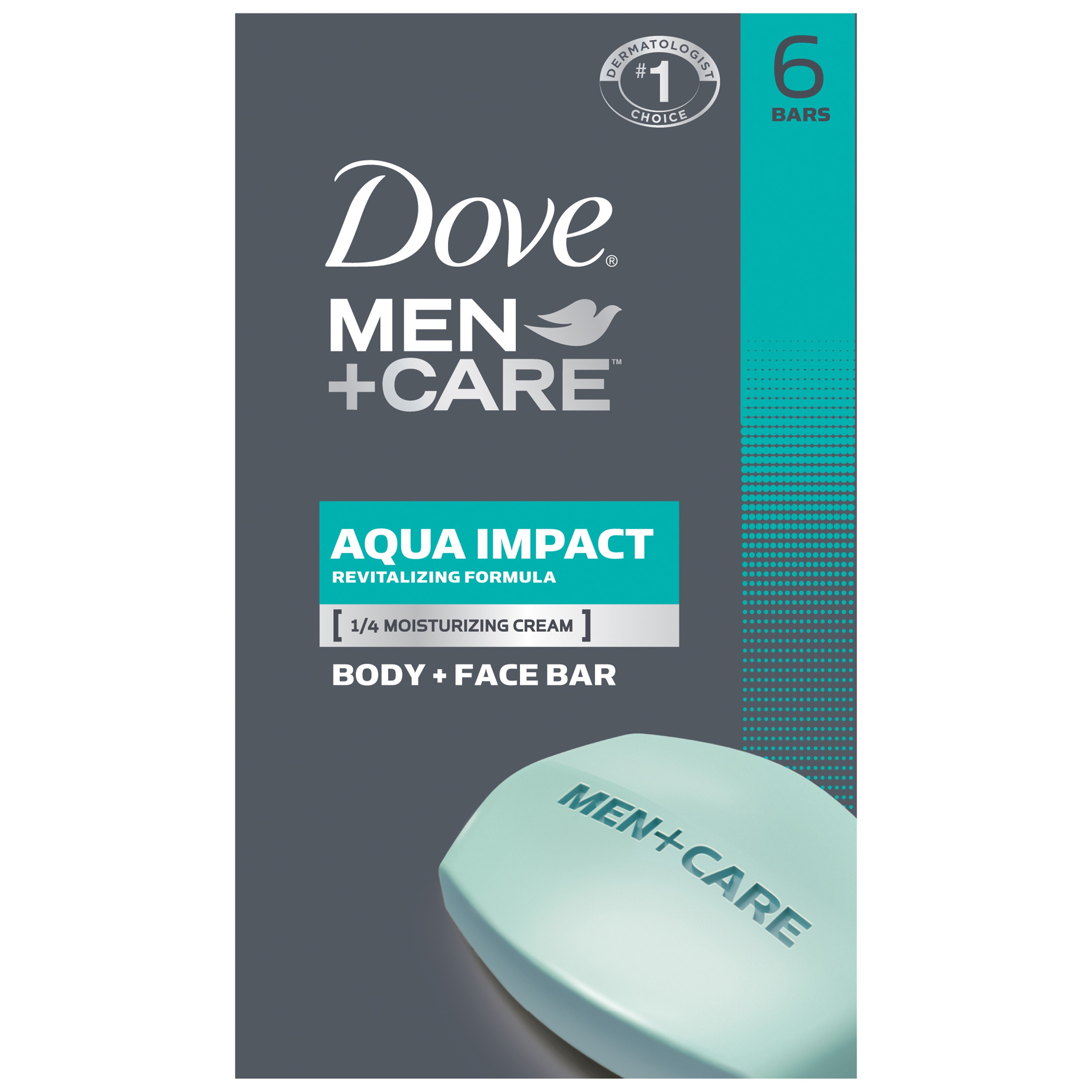 Dove Men+Care Aqua Impact Body and Face Bar 4 oz, 6 Bar
