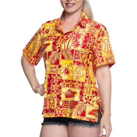 Relaxed Fit Short Sleeve Shorts (Hawaiian Shirt Blouses Button Down Relaxed Fit Women Short Sleeves Camp Black )