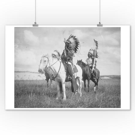 Sioux Indian Chiefs on Horseback - (Edward Curtis c. 1905) - Vintage Photograph (9x12 Art Print, Wall Decor Travel Poster)](Sioux Shop)