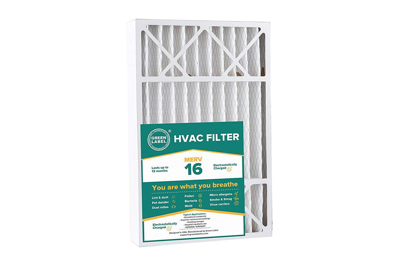 Green Label HVAC Air Filter MERV 16 16 x 25 x 1 AC Furnace Air Ultra Cleaning Filter