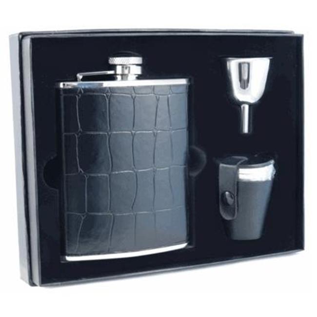 Visol VSET27-1152 Beau Monde Crocodile Leather 6oz Flask Gift Set