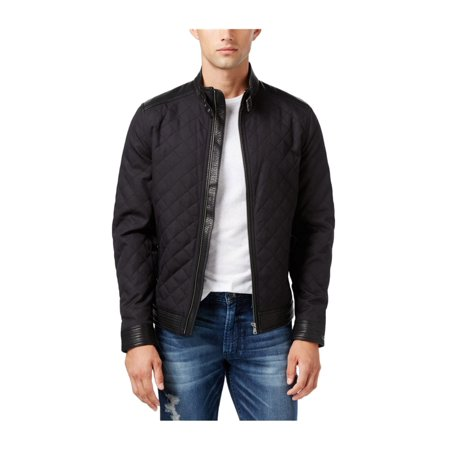 Guess Mens Jacket - GUESS Mens Neil Quilted Bomber Jacket jetblack XL