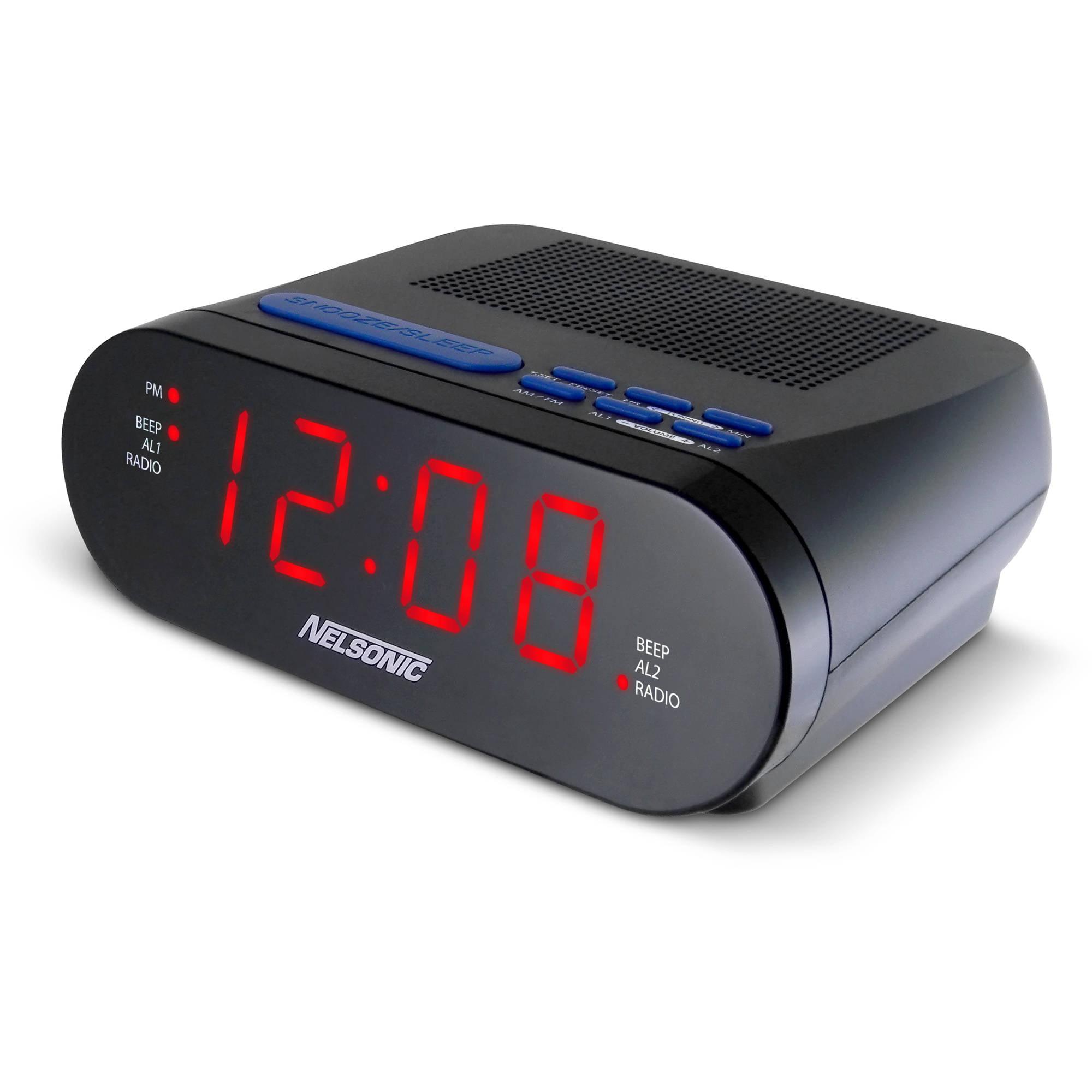 Nelsonic Opp Led Clock Radio With Digital Tuner Walmart