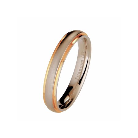 Titanium Wedding Ring 18k Gold Plated Edges Comfort Fit Band 4mm