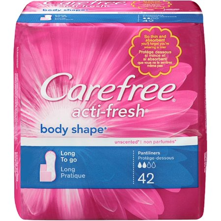 CAREFREE Acti-Fresh Body Shape Long To Go Pantiliner, Unscented 42 ea (Pack of 3)