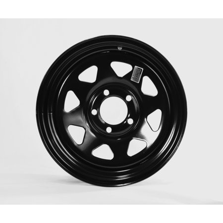 Trailer Rim Wheel 15 in. x 6 in. 15x6 5 Lug Hole Bolt Wheel Black Spoke Design