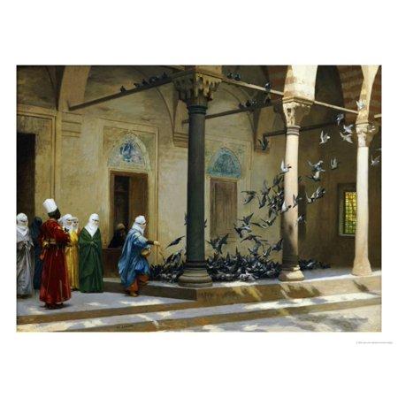 Harem Women Feeding Pigeons in a Courtyard Print Wall Art By Jean Leon Gerome