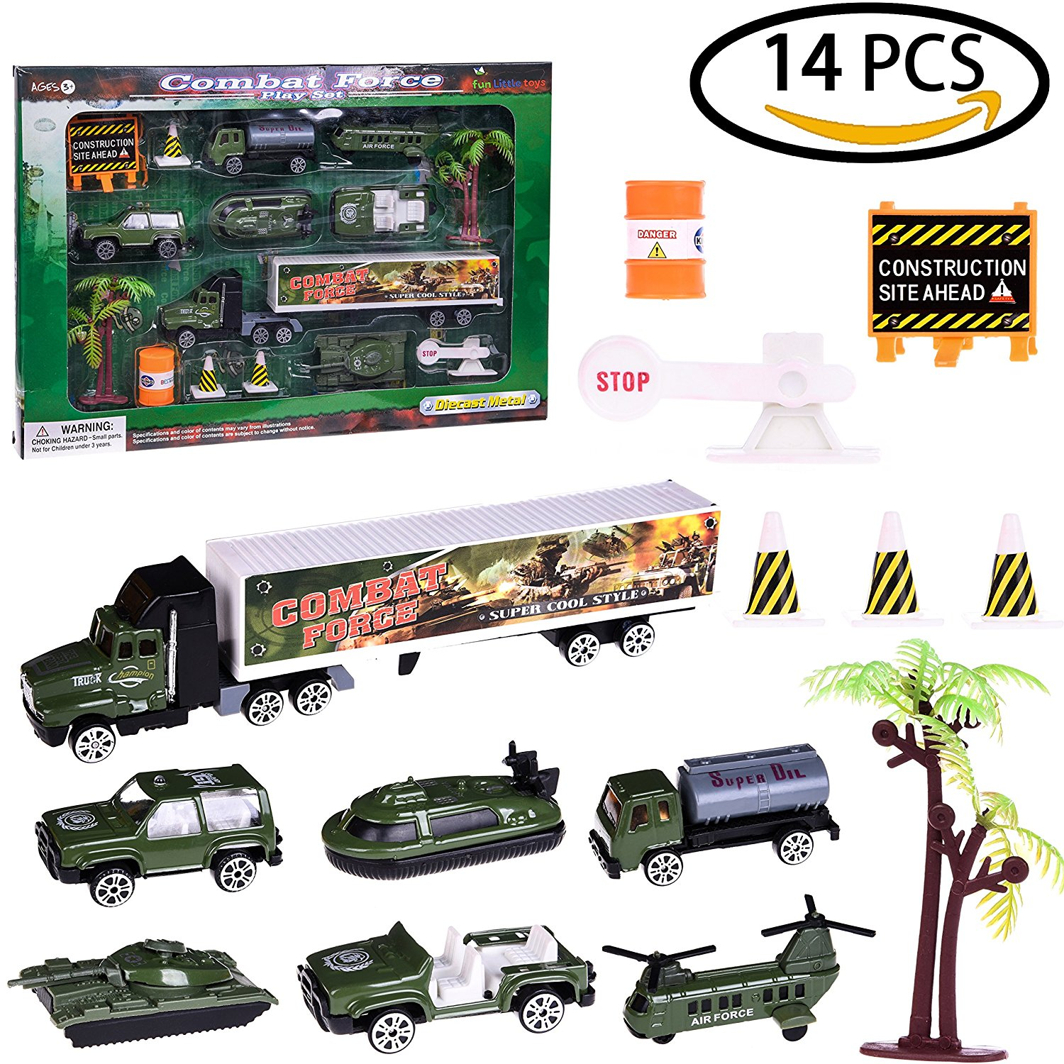 Boy's Army Man Military Soldiers Truck Hero Role Play Action Diecast Vehicle Play Set for Party Favors with Tank, Truck, SUV, Helicopter, Plane and Accessories 15 PCs