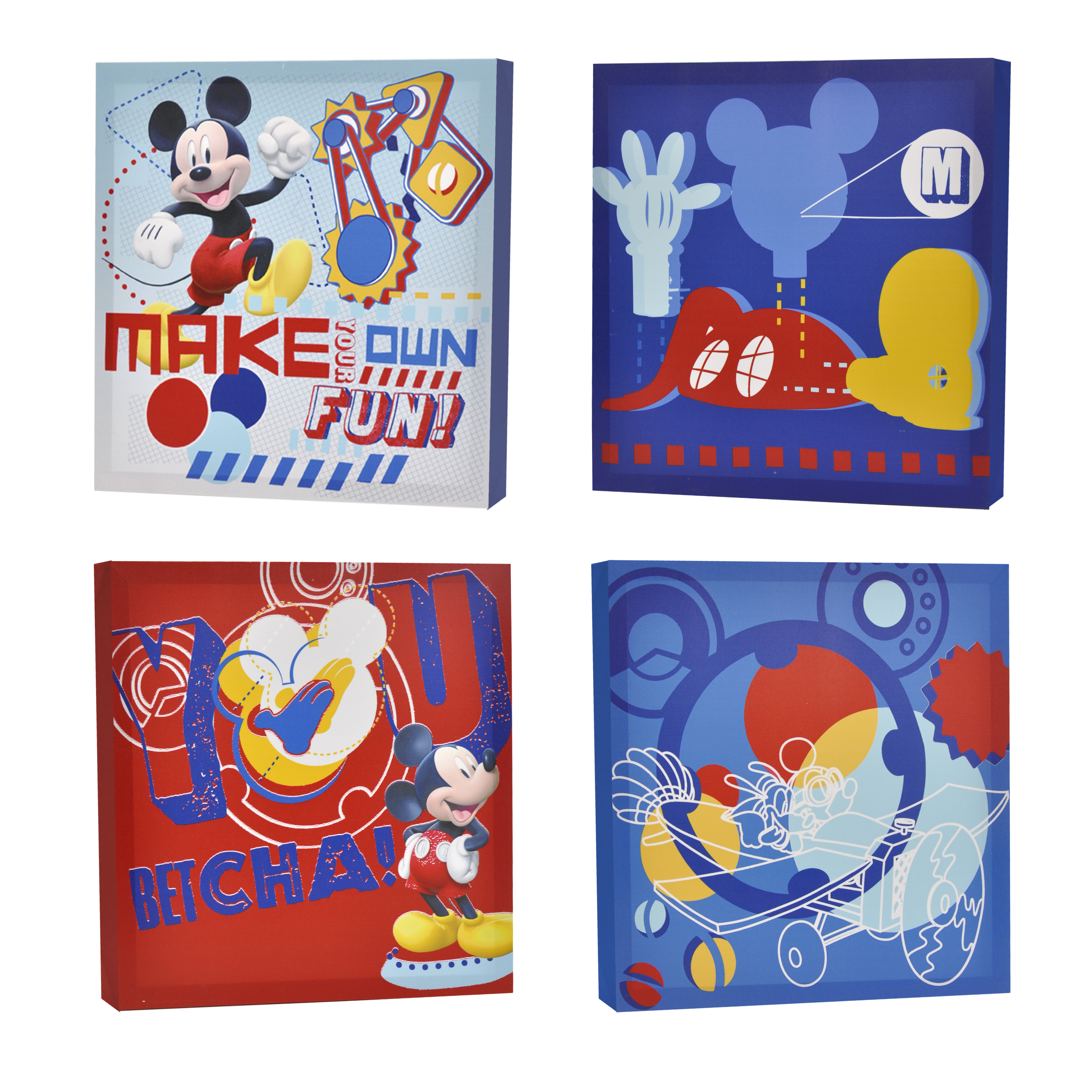 Disney Mickey Mouse 4-Pack Canvas Wall Art