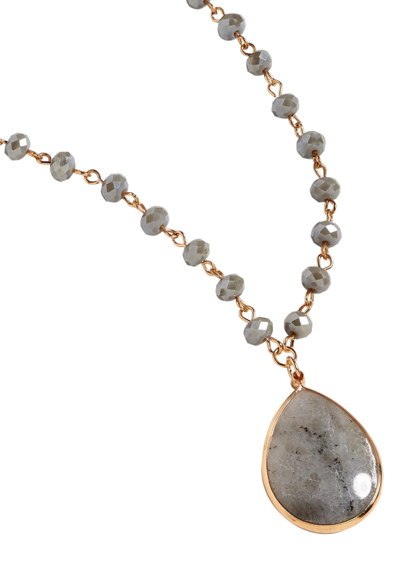 Gray Beaded Pendant Necklace