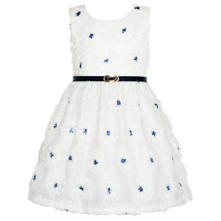 Girls Dress Lace Jeweled Belt Sash Flowers Sequin Shiny Glitter Size 4