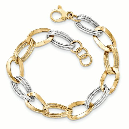 14K White And Yellow Gold Two Tone Polished Fancy Bracelet, 8