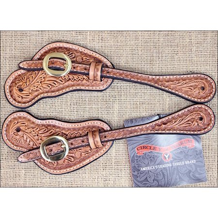 ULTRA LITE CIRCLE Y ACORN TOOLED LEATHER SPUR STRAP BRASS HARDWARE