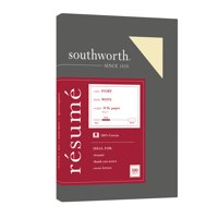 "Southworth 100% Cotton Resume Paper, 8.5"" x 11"", 24 lb., Ivory, 100 Sheets"