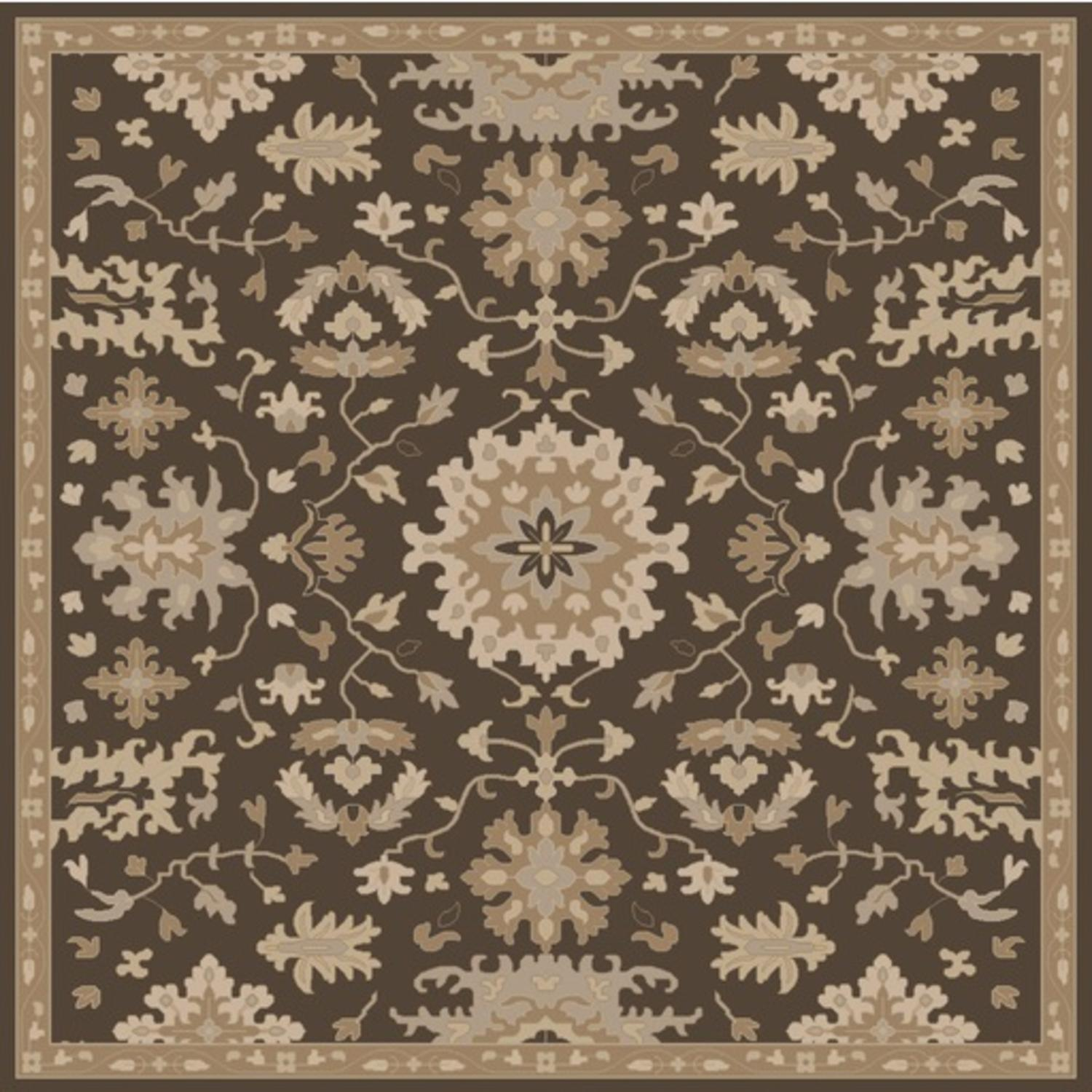 4' x 4' Classical Caesar Chocolate Brown and Taupe Square Wool Area Throw Rug