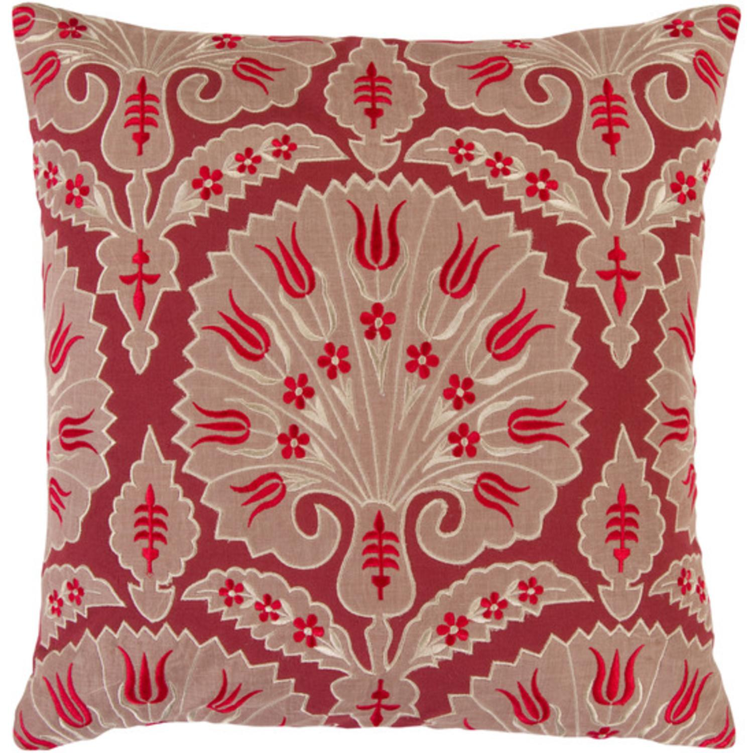 """18"""" Fanciful Floral Scarlet Red and Desert Sand Decorative Throw Pillow"""