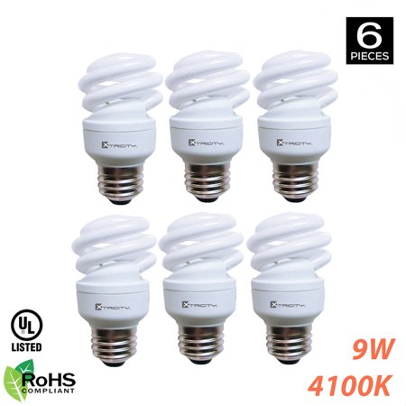 Xtricity Compact Fluorescent T2 Spiral CFL Energy Saver Light Bulb ...