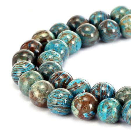 BRCbeads Natural Crazy Blue Lace Agate Gemstone Round 10mm Beads for Jewelry (Gemstone Focal Bead)