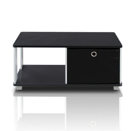 Furinno Coffee Table with Bin Drawer, Black/Black ()