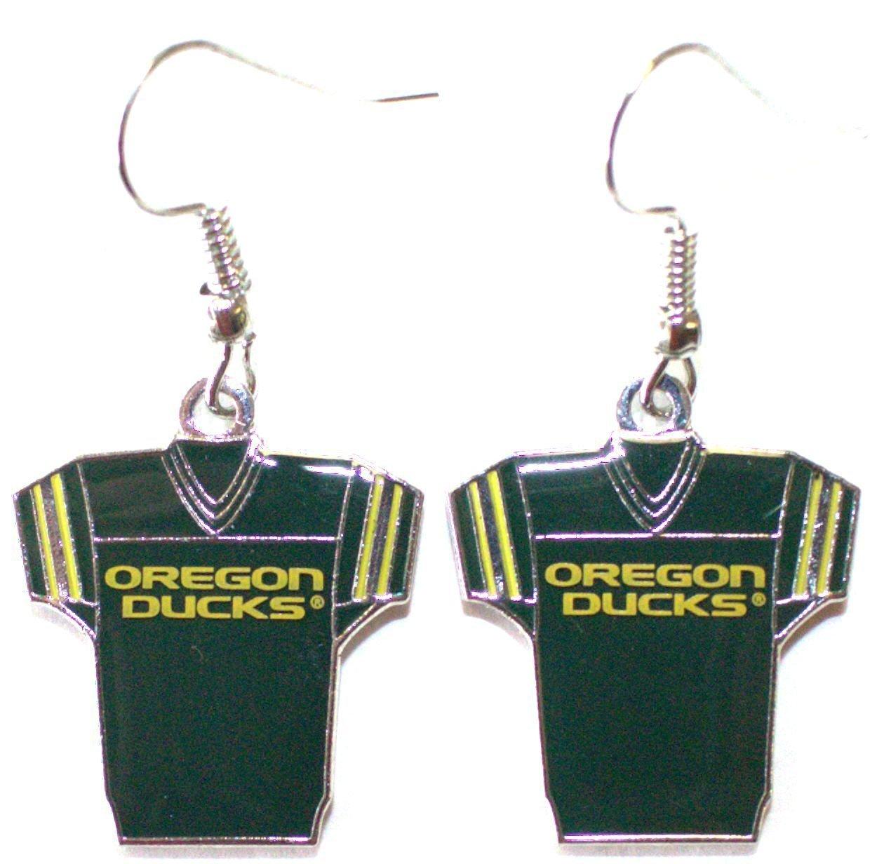 NCAA Officially Licensed Oregon Ducks Jersey Style Dangle Earrings