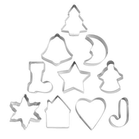 10PCS/Lot Christmas DIY Cookie Cutter Fondant Biscuits Molds Baking Moulds Stainless Steel Metal Frame Shape Baking Tools](Walmart Cookie Cutters)
